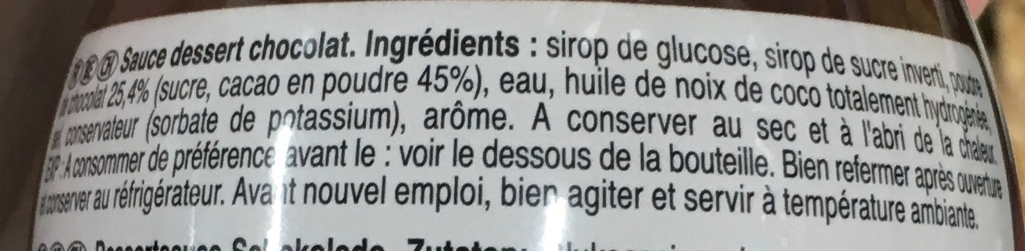 Sauce Dessert Chocolat - Ingrediënten - fr