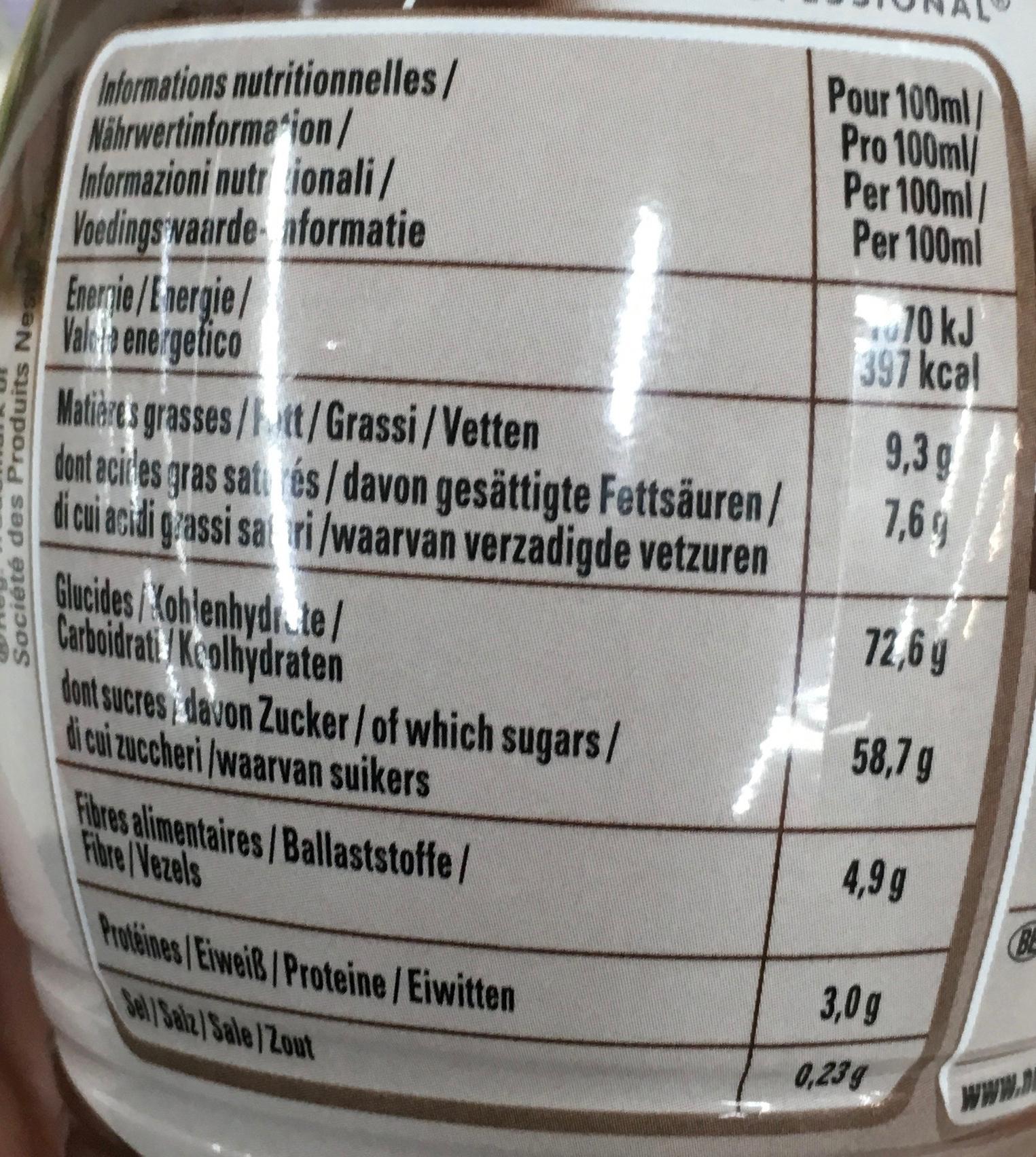Sauce Dessert Chocolat - Voedingswaarden - fr