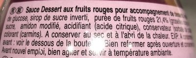 Sauce dessert Fruits rouges - Ingrédients - fr