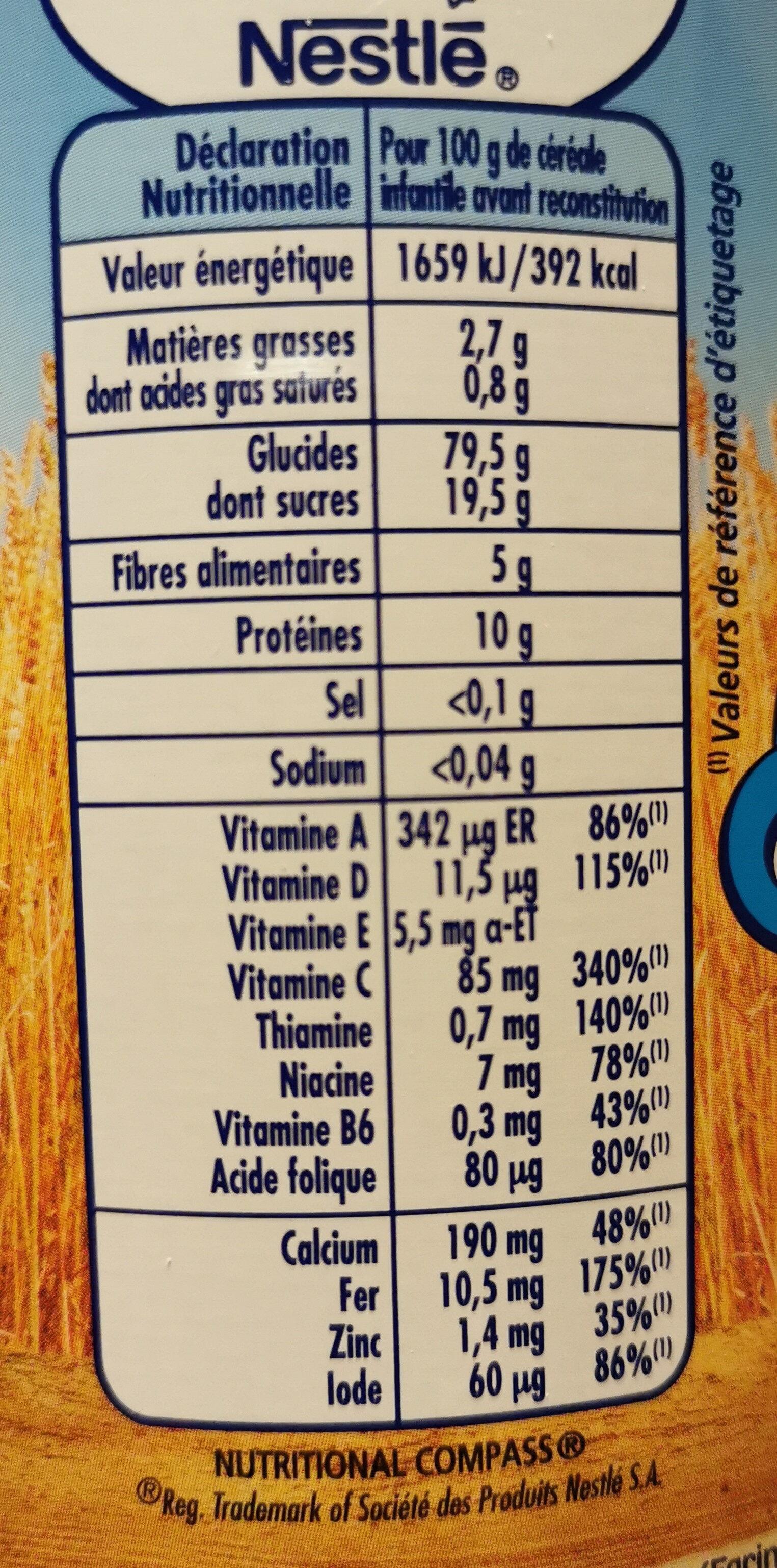 P'tite céréale cacao - Informação nutricional - fr