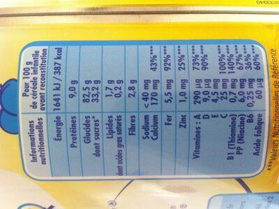 P'tite Céréales vanille - Informations nutritionnelles