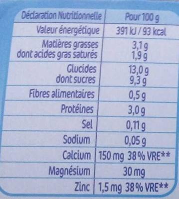 P'tit Gourmand saveur Vanille - Valori nutrizionali - fr