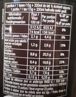 Le Chocolat - Informations nutritionnelles - fr