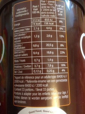 Le Chocolat - Nutrition facts - fr