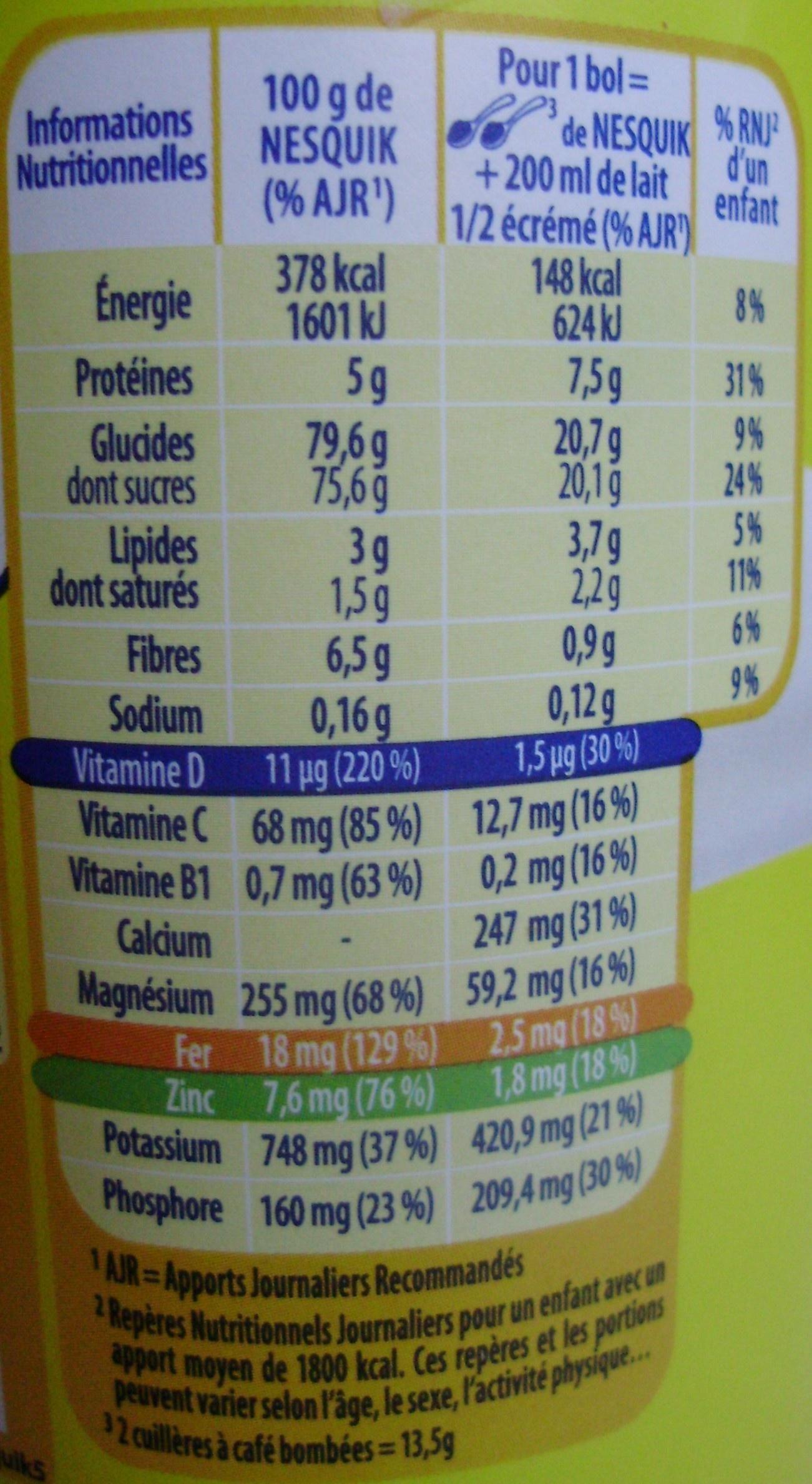 Nesquik® 450 g - Informations nutritionnelles