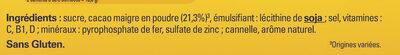 NESQUIK Poudre Cacaotée boîte - Ingrediënten - fr