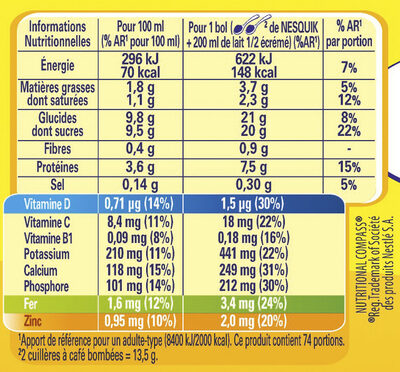 NESQUIK Poudre Cacaotée boîte - Nutrition facts
