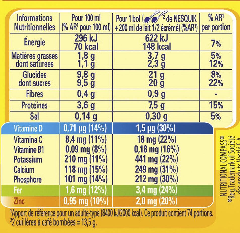 Nesquik - Informació nutricional - fr