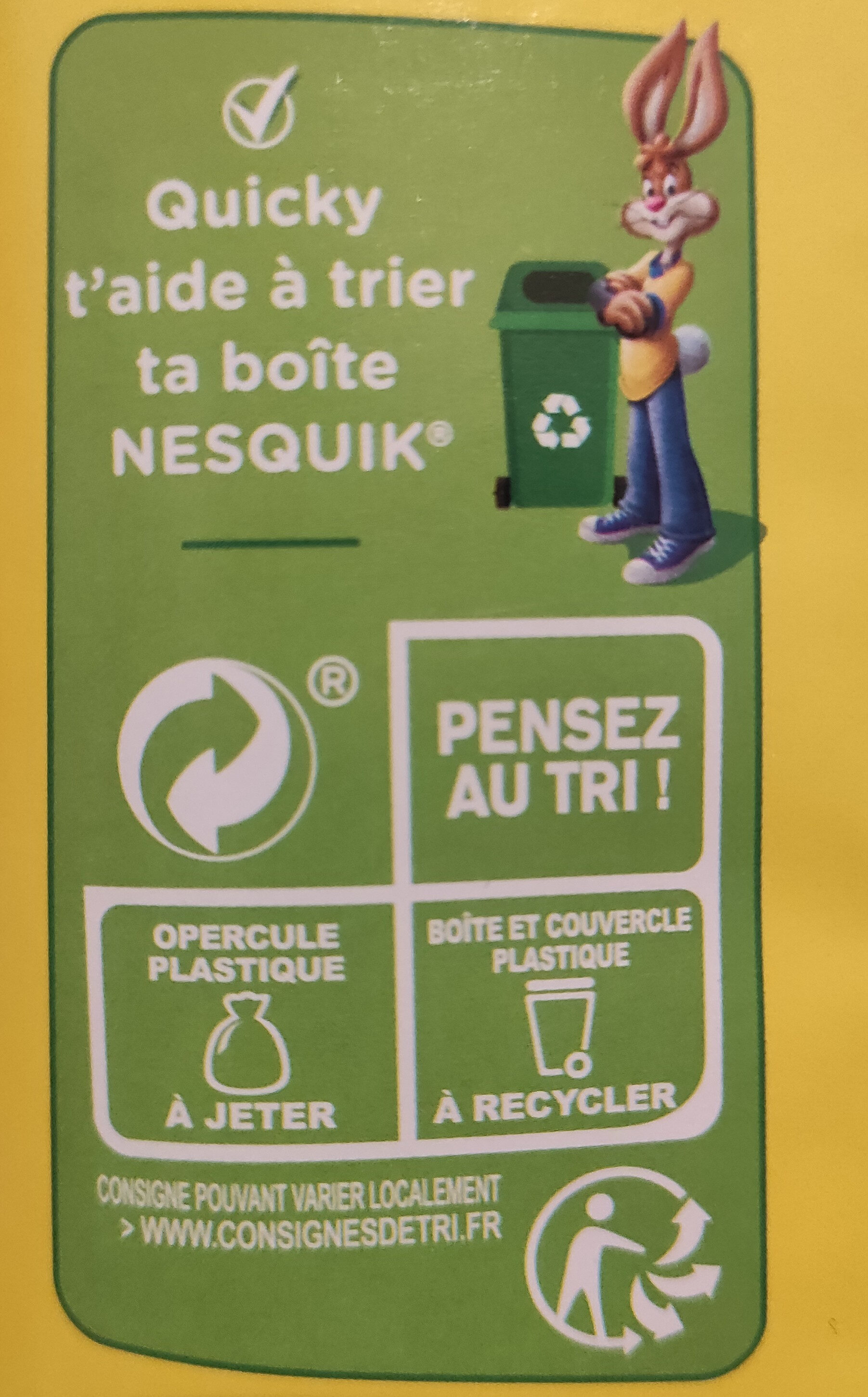 Nesquik - Recycling instructions and/or packaging information - fr