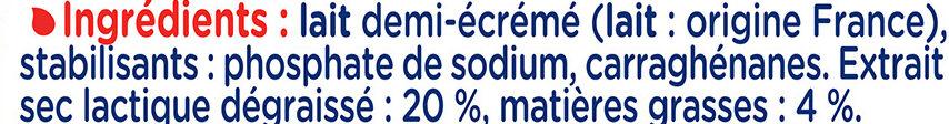 Lait Concentré Non Sucré 1/2 Ecrémé - Ingredients - fr