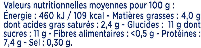 Lait Concentré Non Sucré 1/2 Ecrémé - Informations nutritionnelles - fr