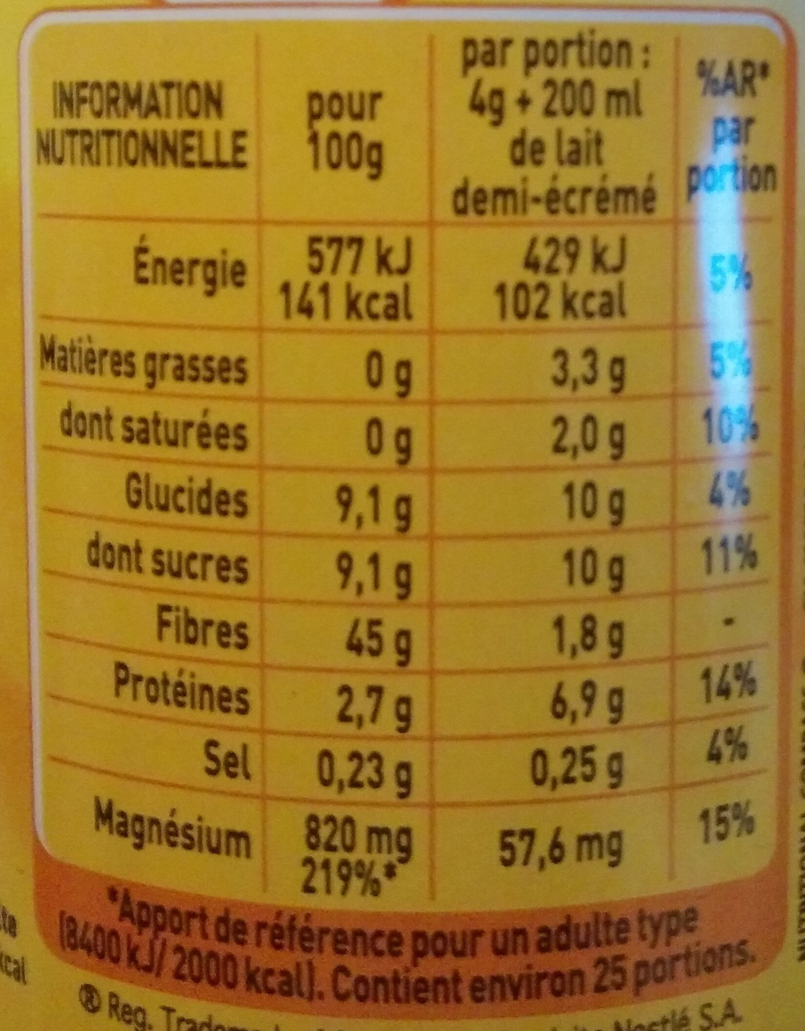 Nestlé Ricoré original - Voedingswaarden - fr