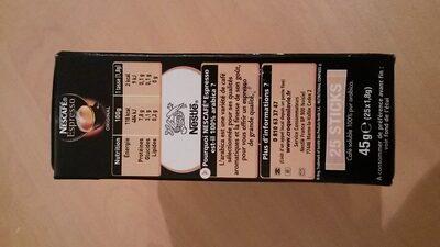 NESCAFE Espresso, Café Soluble, Boîte de 25 Sticks (1,8g chacun) - Informazioni nutrizionali - fr