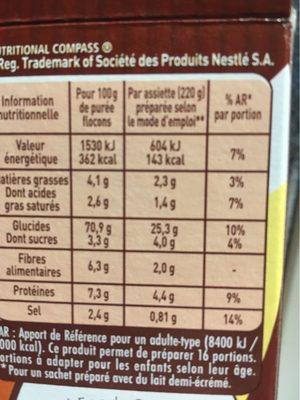 Purée Mousline Saveur à l'ancienne (creme et noix de muscade) - Voedingswaarden - fr