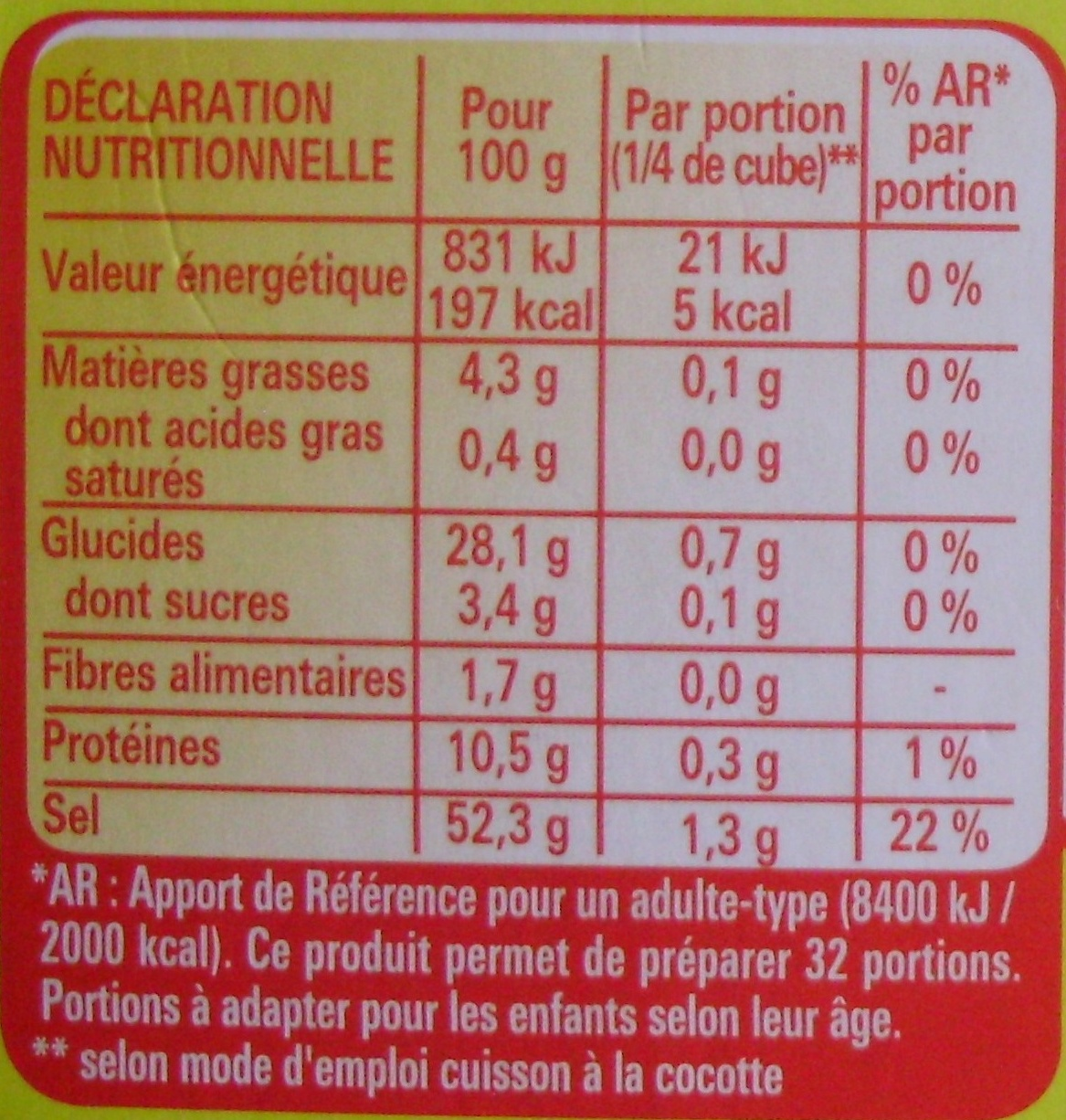 Bouillon KUB Pot au feu (x 8) - Nutrition facts