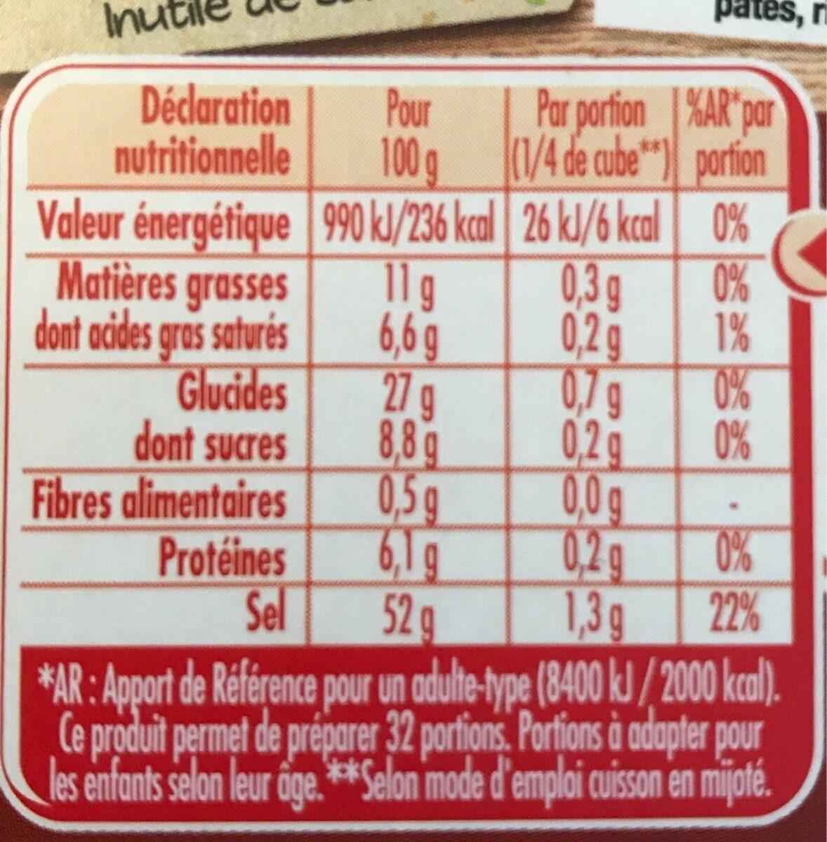 MAGGI Bouillon KUB Pot-au-feu - Información nutricional - fr