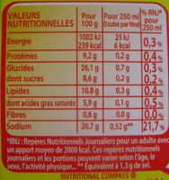 Bouillon Kub Volaille - Nutrition facts