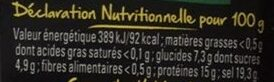 Arome - Informations nutritionnelles - fr