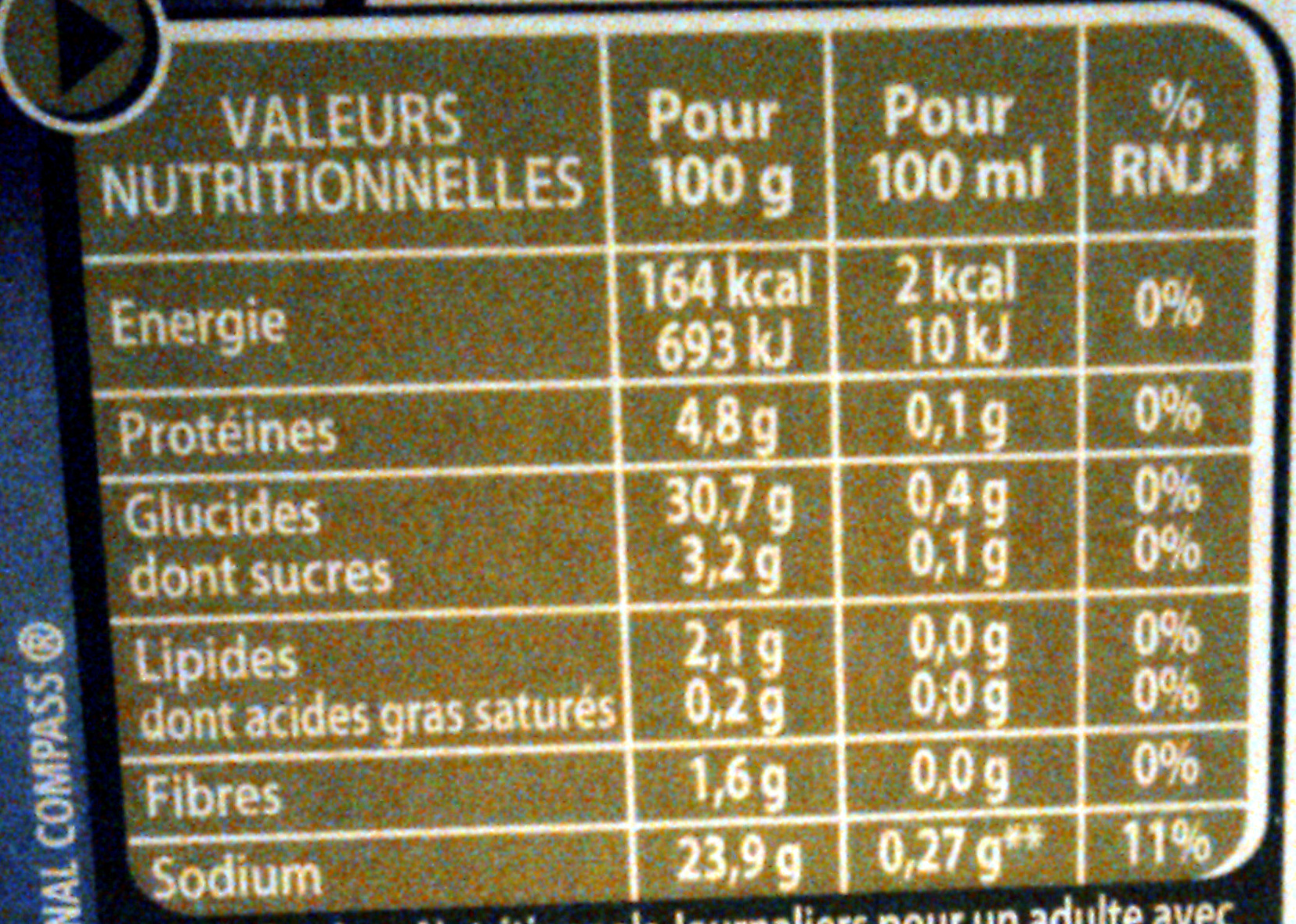 Court-Bouillon - Nutrition facts - fr