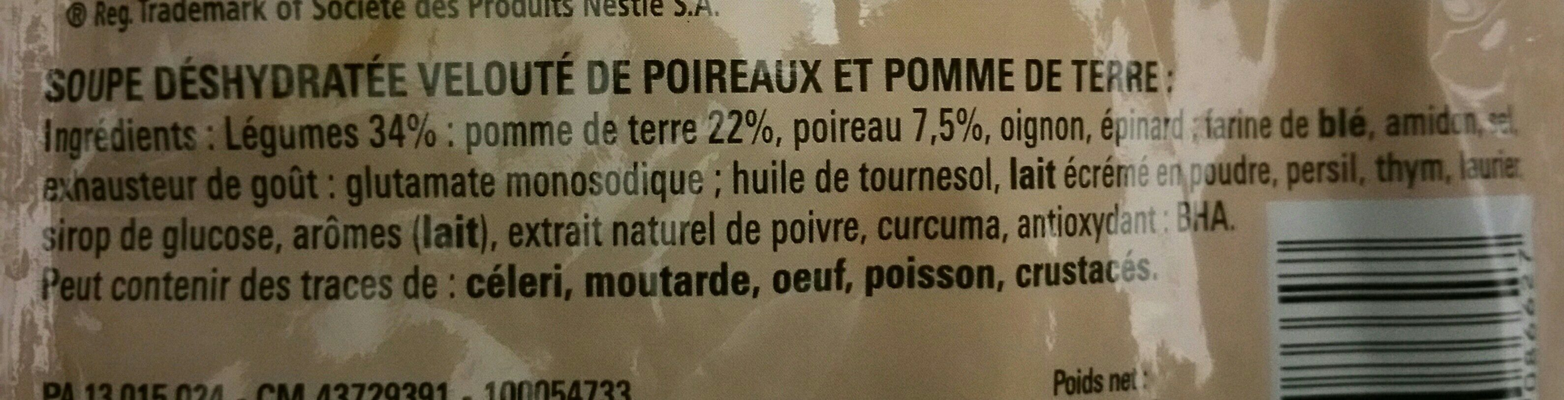 Velouté de Poireaux Pommes de Terre - Ingrédients - fr