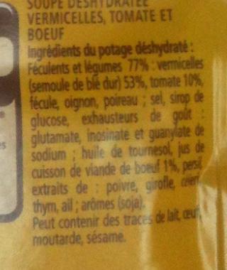 Soupe Boeuf-Tomate aux Vermicelles - Ingrediënten