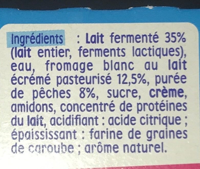 P'tit onctueux au fromage blanc pêches - Ingrédients - fr