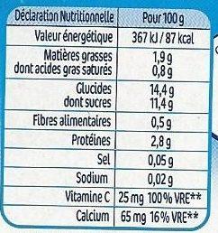 P'tit onctueux au fromage blanc pêches - Valori nutrizionali - fr