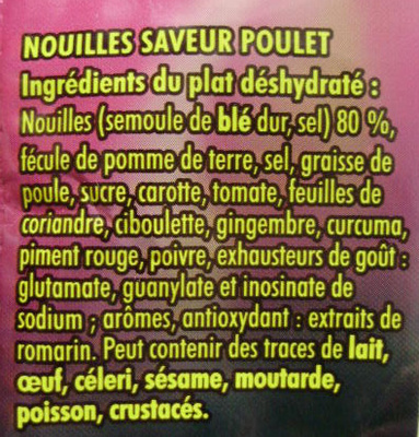 Nouilles Asiatiques Saveur Poulet - 60 g - Maggi - Ingrediënten