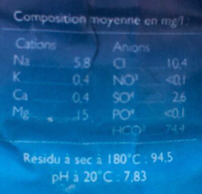 Eau de Source Naturelle Mont-DoreCaledonienne - Informations nutritionnelles - fr