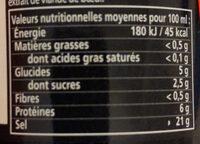 Knorr Assaisonnement Liquide Viandox 160ml - Información nutricional - fr