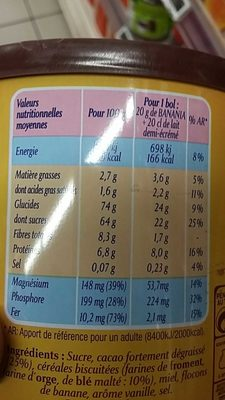 Banania Traditionnel - Nutrition facts