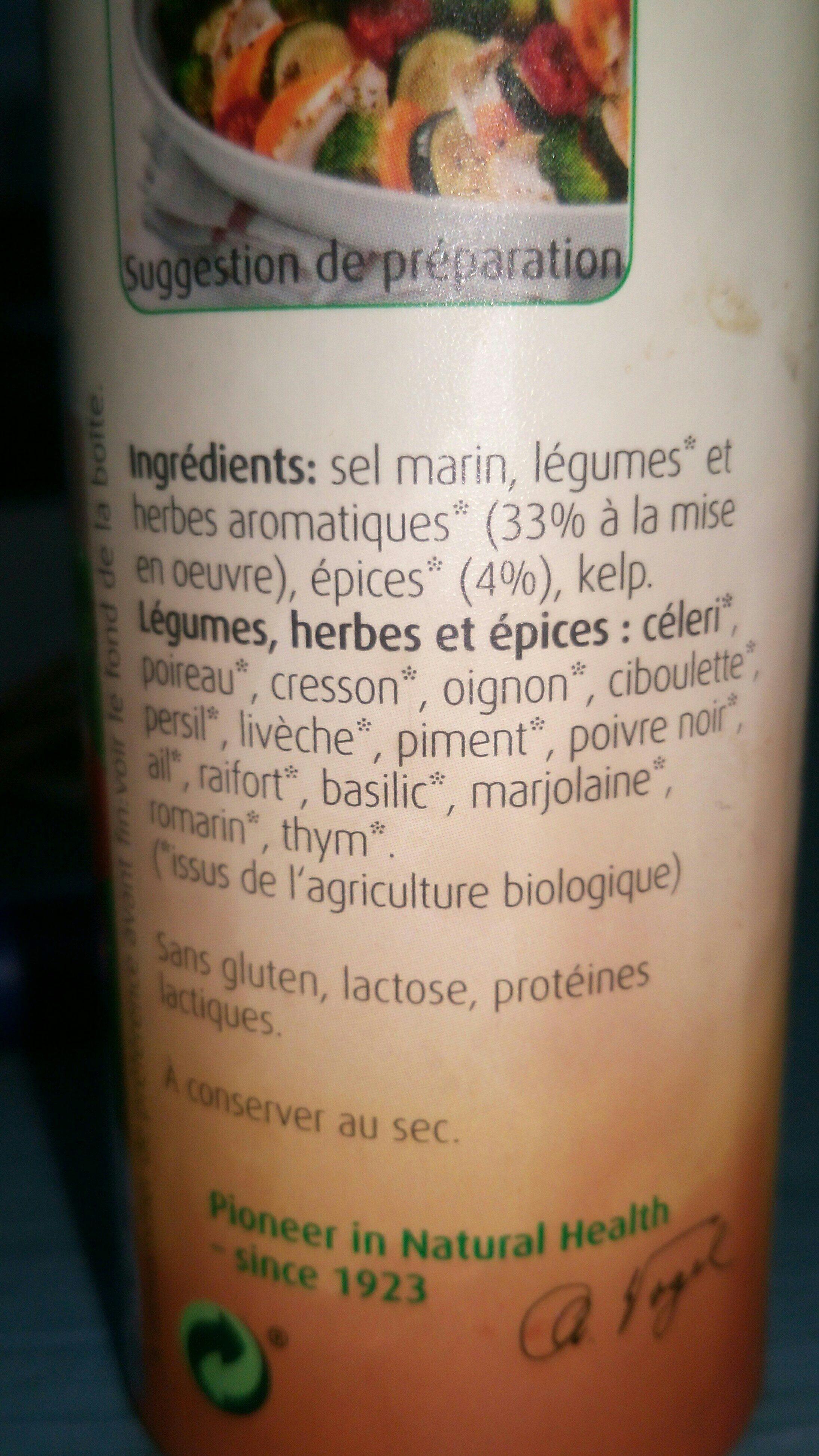 Herbamare Sel Aux Legumes, Herbes Et Epices - Ingrédients - fr