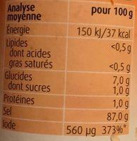 Herbamare Sel Aux Legumes, Herbes Et Epices - Informations nutritionnelles - fr