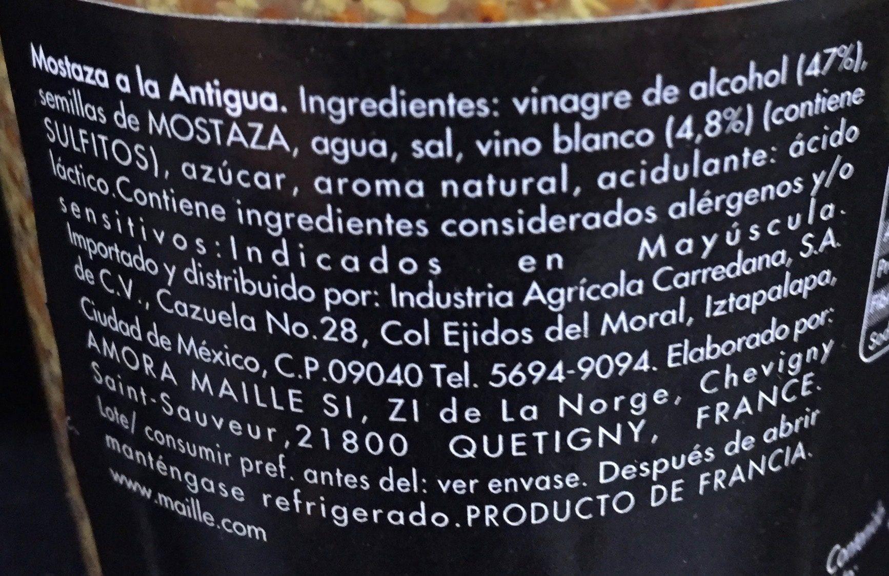 Mostaza a la Antigua àl Ancienne - Ingredientes