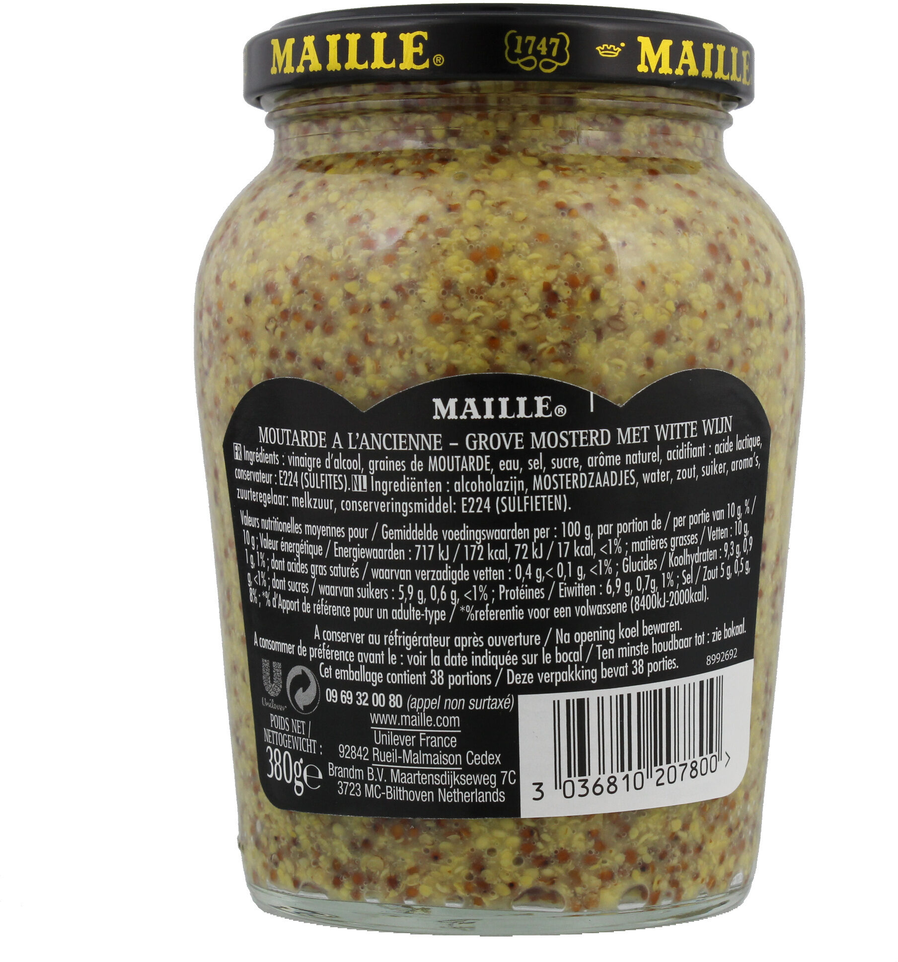 Maille Moutarde à l'Ancienne Bocal 380g - المكونات - fr