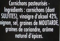 Cornichons Fins Cueillis main 560 g - Maille - Ingredients