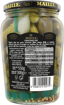 Maille Grand Croquant Cornichons Fins Bocal 300g - Nutrition facts - fr