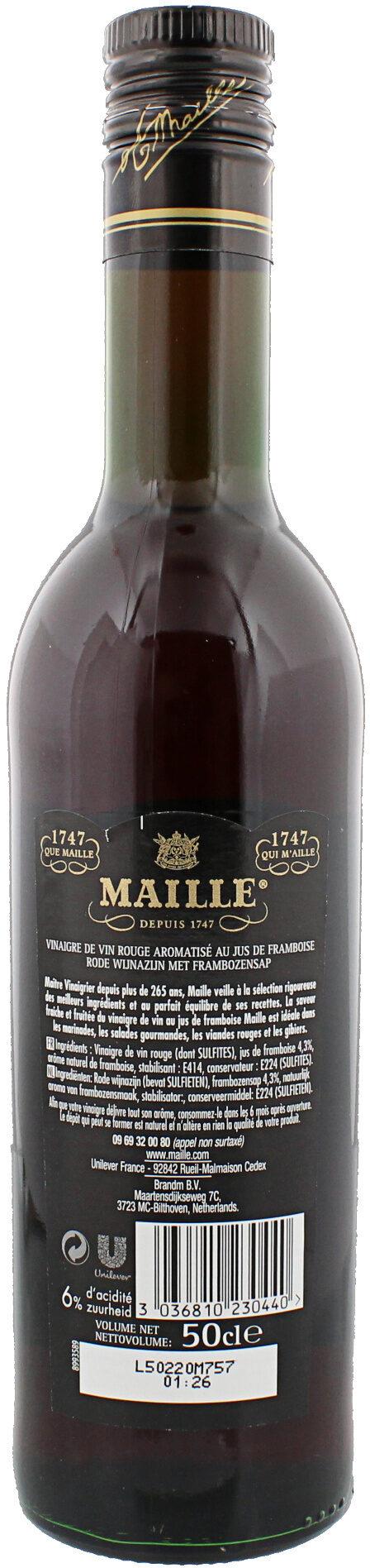 Maille Vinaigre de Vin Rouge à la Framboise 50cl - Ingrédients - fr