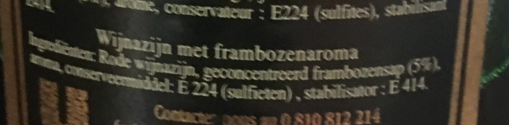 Maille - Vinaigre - Framboise - Ingrediënten