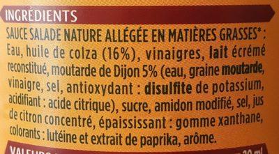 Sauce salade nature à la moutarde de Dijon légère - Ingrédients - fr