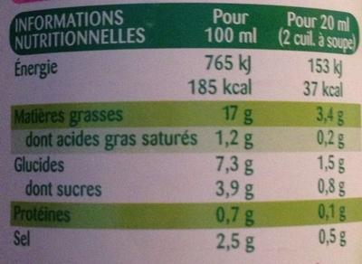 Sauce salade moutarde a l'ancienne légère - Informations nutritionnelles - fr