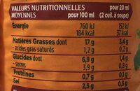 Sauce salade légère  à la moutarde à l'ancienne - Valori nutrizionali - fr