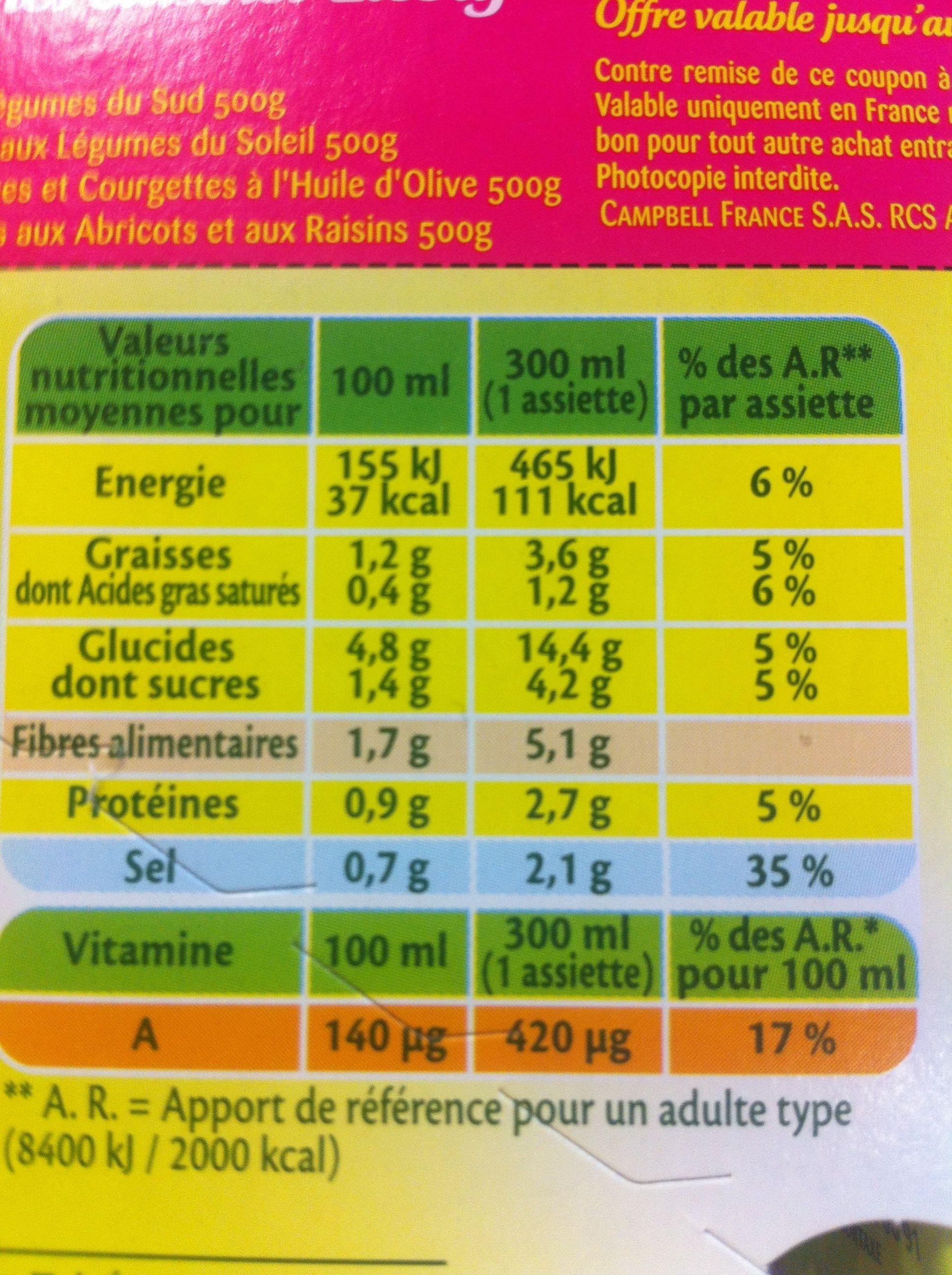 Pur Soup' - Mouliné de 7 légumes variés - Ingrédients
