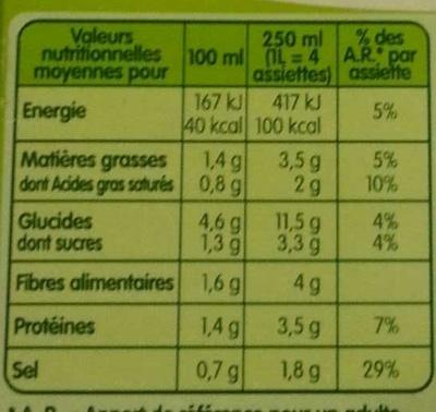 PurSoup' Mouliné de Légumes d'Hiver - Informations nutritionnelles - fr