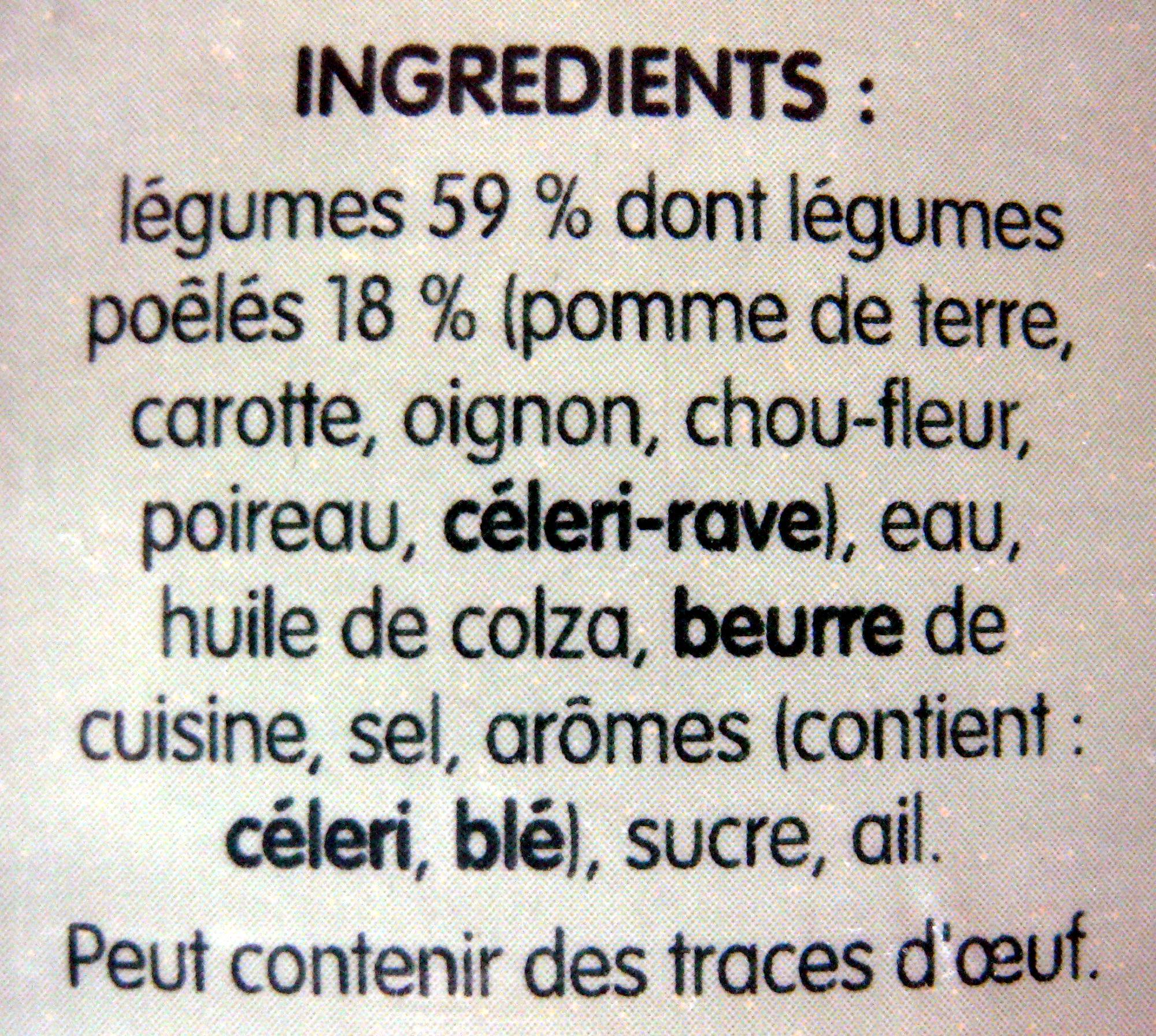 Velouté de Légumes Poêlés - Ingrédients - fr