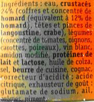 Bisque de homard - Ingredients - fr