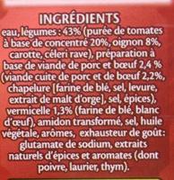 Soupe à la Bolognaise - Ingrédients
