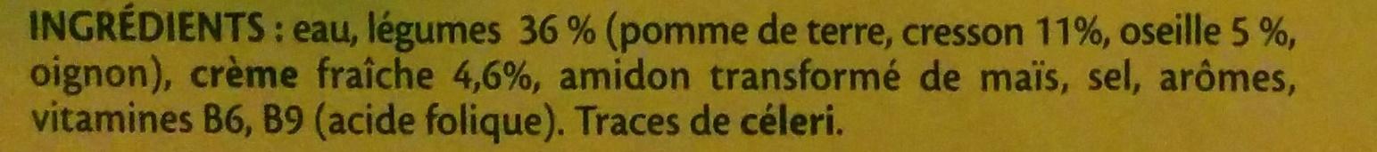 Soupe Oseille Cresson et crème fraîche - Ingrédients