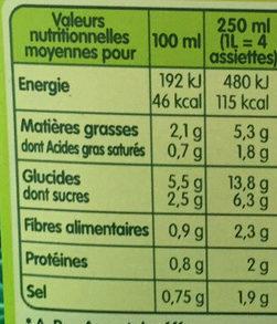 PurSoup' - Velouté de 10 Légumes - Nutrition facts - fr