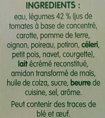 Pur Soup' - Velouté de 10 Légumes - Ingrédients